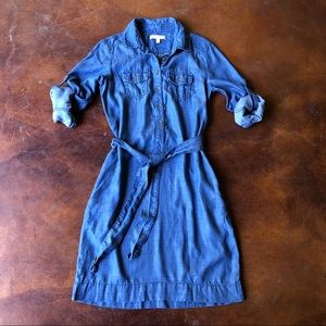 Banana Republic Chambray Belted Shirt Dress 2 XS S
